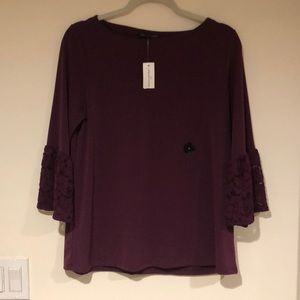 BANANA REPUBLIC Purple Shirt with Lace Arms